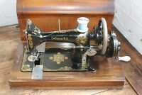 W. J. Harris Defiance N3 Hand Crank Sewing Machine 1900's wooden case rare