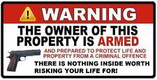 "Owner is Armed Warning  3""x6"" 2nd Amendment Guns Firearm Window Sticker Decal"