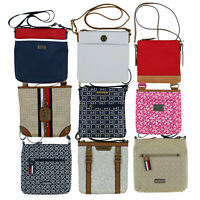 Tommy Hilfiger Womens Crossbody Purse Nylon Shoulder Bag Logo Charm Zip Nwt New