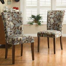Homelegance Royal Leaf Design Fabric Parson Chairs - - Set of 2, Brown, Set of