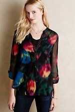 Anthropologie Tiny Tulipano Peasant Top sheer abstract floral blouse henley XS