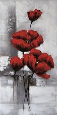 Bilder Wandbild Keilrahmen Ölgemälde 40X 80 cm Blume rot Mohnblüte    Art.8098