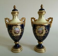 Lovely Pair of Coalport Hand Painted Topographical Cobalt Blue Vases V5327