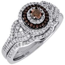 Brown Diamond Bridal Set Ladies Solitaire 10K White Gold Wedding Ring 0.50 Ct.
