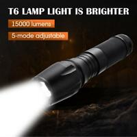 T6 Tactical Military LED Flashlight Torch Lamp 15000LM Zoomable 5-Mode