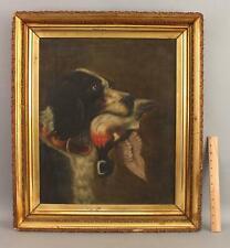 19thC Antique English Springer Spaniel Hunting Bird Dog & Wood Duck Oil Painting