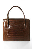 Darby Scott Brown Crocodile Skin Double Strap 4 Pocket Thompson Tote Handbag