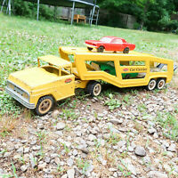Vintage '63-70 Tonka Car Carrier Pressed Steel Toy Semi with 3 cars Mound Minn
