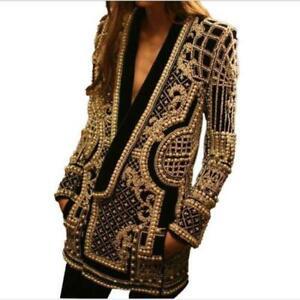 Women's New Fashion Shawl Collar Embroidered Beaded Long Blazer Jacket Coat SKGB