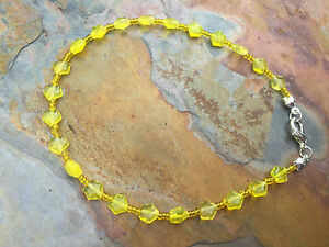 "Handmade Ankle Bracelet of Yellow Czech Glass Star Beads  - 9.5"" Long Anklet"