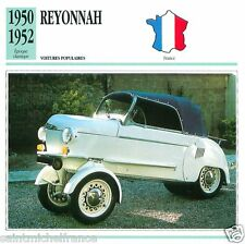 REYONNAH 1950 1952 CAR  VOITURE FRANCE CARTE CARD FICHE