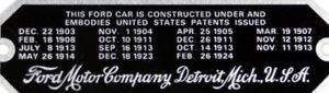 Ford Patent Plate - 1926 - 1927