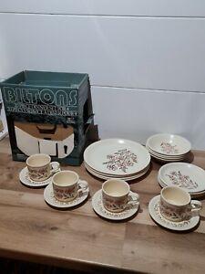 Vintage Biltons 20 Piece Dinner Set Cups Saucers Bowls Side Plates x4