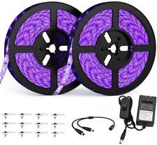33FT LED UV Strip Light Ultraviolet Flexible Blacklight Purple 10M 600LEDs