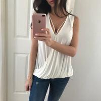 Women Sleeveless Deep V Neck Backless Vest Tank Top Summer T Shirt Solid Color G