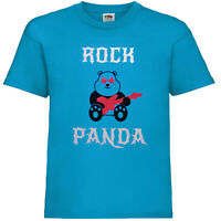 Kids Boys Girls rock panda T-Shirt flocked glitter cute party fun festival cool