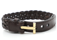 """Tom Ford Woven Leather Gold """"T"""" Bracelet Brown"""