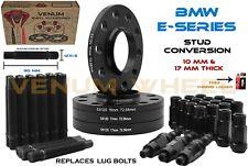 (4) Black 10 MM & 17 MM BMW Wheel Spacers +12x1.5 Racing Stud Conversion Fits M3