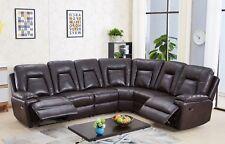 Brown Leather Gel Recliner Reclining Corner Sofa Suite RH Facing ROCKFORD