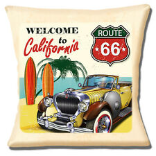 "Welcome to California Route 66 Cushion Cover 16""x16"" 40cm Classic Car on Beach"