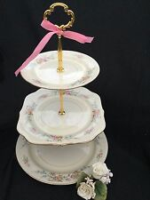 3 Tier Serving Tray Antique Wedding Bridal Cake Stand Collectible Eggshell Plate