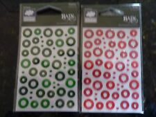 RAIN DOTS -2 X SELF ADHESIVE ACCENTS FOR CRAFTS AND SCRAPBOOKING. GREEN & RED