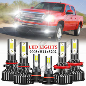 For 2007-2013 GMC Sierra 1500 2500 - 6X 6000K LED Headlights Fog Light Bulbs F2