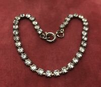 "Vintage Bracelet 7"" Silver Tone Rhinestone Thin"