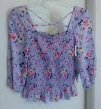 Women Cravefame By Almost Famous Long Sleeve Stretchy Purple Floral Top Size Xs