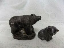 VINTAGE STONE CARVED BEARS~MOM AND BABY~WOLF SCULPTURES, CANADA