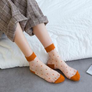 One Summer Women Girl Transparent Polka Dot Mesh Thin Short Ankle Sock