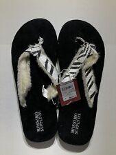 NWT!! Mossimo Women's Flip Flops Fur Trim Zebra Print Size 8