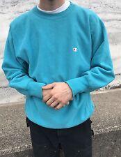 Vintage Champion Reverse Weave Crew Sweatshirt Large Teal Blue 90s Warm Up