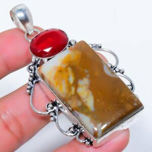 """Plume Agate & Ruby 925 Sterling Silver Jewelry Pendant 2.8"""" F2676"""