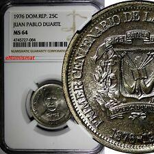 DOMINICAN REPUBLIC 1976 25 Centavos NGC MS64 Death of Juan Pablo Duarte KM# 43