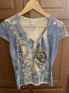 Alberto Makali Top-Short Sleeve-sequins-blue-sz M-used!