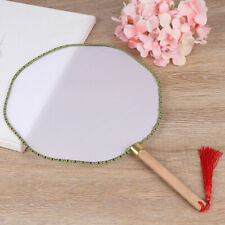 DIY White Chinese Style Hand Held Fan Blank Cloth Wood Handle Fan Home Deco qx