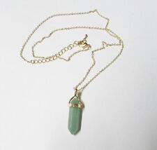 Trendy Autumn Green Gold Layered Natural Stone Necklace Crystal Stone Quartz