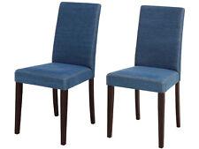2x Stuhl Set Esszimmerstuhl Küchenstuhl Lehnstuhl Polsterstuhl Stoff Jeans blau