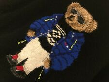 Ralph Lauren Polo Bear Ski Jumper Sweater Black Knitted Wool Medium M RRP £345+