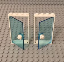 Lego X2 Trans-light Blue Door W/ 1x4x6 White Frame And Round Plate Handle Part