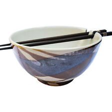 Handmade Chinese/ Japanese Ceramic Stoneware Noodle Bowl with Chopsticks - Brown