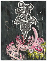 Original JUSTIN AERNI Painting circa 2013 dark art macabre : EXHALE