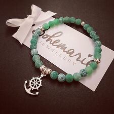 Green frosted agate anchor charm bracelet gemstone summer bijoux jewellery boho