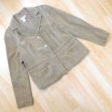 Coldwater Creek Suede Jacket Button Down Lined Long Sleeve Beige Tan Women's XL