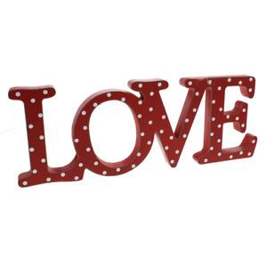 Valentine's / Anniversary - Square Shelf / Mantel Block Sign - Red - Love