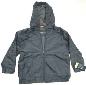 Boys Navy Blue FRENCH TOAST Fleece Lined Windbreaker Jacket With Hoodie Youth