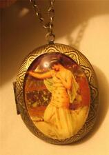 Lovely Grecian Lady Resting on a Wall Glass Cameo Goldtone Locket Medal Necklace