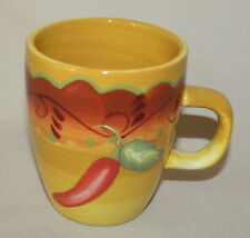 Santa Fe Yellow Mug Laurie Gates Southwestern Chili Pepper 12 Ounces Coffee Cup