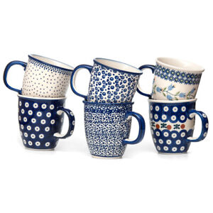 Bunzlauer Keramik Becher Henkelbecher Tassen 300ml 6er Set Handarbeit